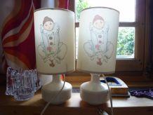 paire de lampes vintage motif pierrot