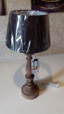 Lampe de table bois/aspect cuir