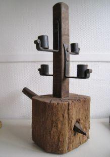Bougeoir bois genre médiéval