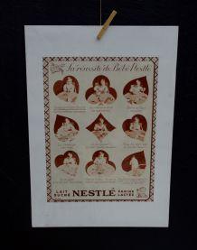 """Publicité Nestlé années 30 """"la réussite de bébé Nestlé"""""""