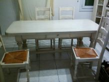 TABLE CHENE + 4 CHAISES