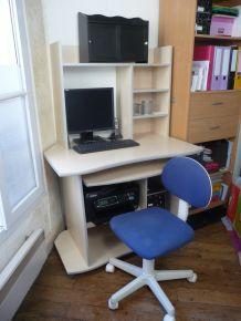 Ensemble 4 pièces BUREAU érable blond= meuble micro+ sur meuble+caisson+chaise