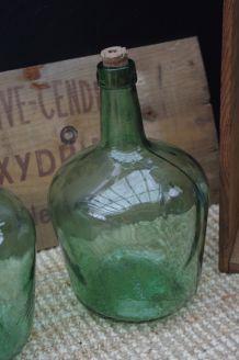 Bonbonne ancienne verre vert VIRESA