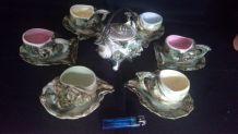 Petit service a café coquillages tasses théière 60's vintage