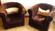 Lot de 2 fauteuils chesterfield à retapisser