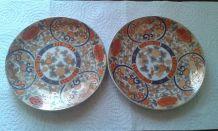 Lot de 2 soucoupes, porcelaine chine