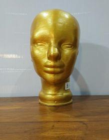Tête en verre à chapeau dorée années 60