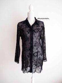 Chemise tunique déshabillé voile noir velours dévoré vintage 90's
