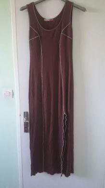 Robe d'été longue marron et blanc