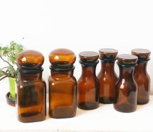 Lot de pots vintage ambrés