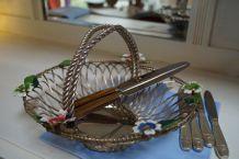 Corbeille métal vintage, métal tressé