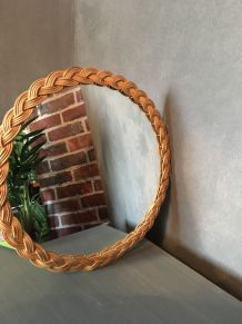 Miroir style scandinave rond en osier