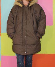 blouson manteau doudoune à capuche fourrure TM/38-40 one top