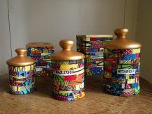 Pots en bois décor Wax.