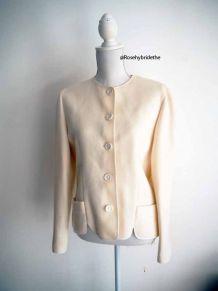 Manteau court blanc 100% Pure Laine Vierge vintage 80's