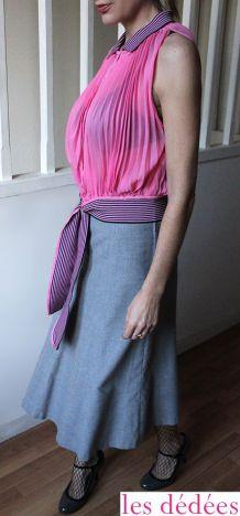 Mon chemisier rétro rose couture