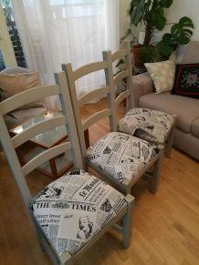 3 chaises tapissées gris souris