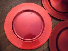 Lot De 5 Grandes Assiettes Ronde En Plastique Rouge