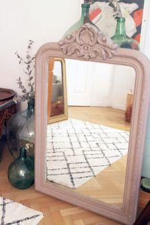 Grand miroir trumeau ancien de cheminée de 1m20