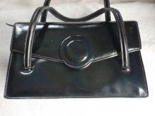 Sac a main cuir noir vintage annees 1950