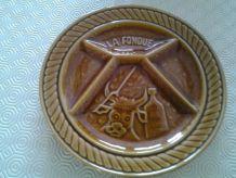 6 assiettes fondue faience sarreguemines