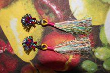 Boucle d'oreille style indien pompon diamant