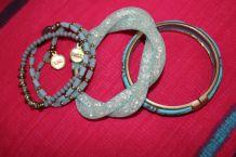 lot bracelet effet argente diamant pierre turquoise
