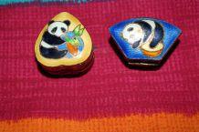 lot petites boites à bijoux ou médicaments coeur panda effet dore vintage