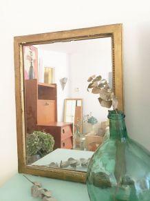 Miroir doré vintage patiné 70's