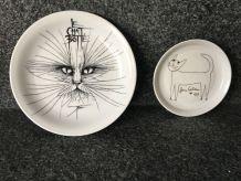 2 Assiettes anciennes en porcelaine Jean Cocteau et Pierre-Yves Trémois