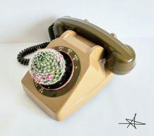 Cache pot - Téléphone Brun / Olive 1980