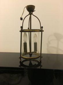 Lanterne cylindrique en laiton style Louis XVI