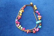 bracelet cheville effet dore pierre grelot perle fantaisie