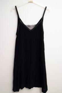 Robe Maje fine bretelle cuir dentelle noire
