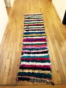 Tapis boucherouite de couloir multicolore réversible