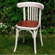 Chaise Bistrot vintage bois patiné, assise bois naturel vernis