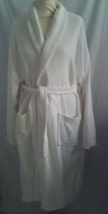 Peignoir de bain éponge blanc taille L