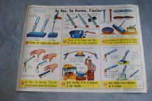 Affiche scolaire ,éditions ROSSIGNOL Le fer la font l'acier / Le plomb l'aluminium le cuivre