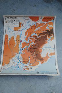 Carte scolaire vintage Rossignol La Garonne , le Rhone et ses affluents