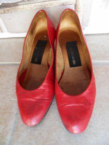 Escarpins vintage en cuir rouge