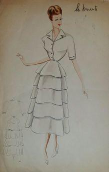 Croquis Mode 1950  / Manteaux suite, et robes