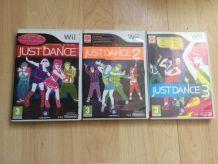 Lot de jeux Just Dance 1,2,3 wii