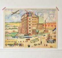 Affiche scolaire Rossignol reconstruction / maquis