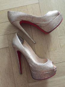 Escarpins Louboutin AUTHENTIQUE Lady Peep nude paillettes glitter