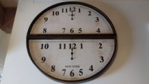 Horloge vintage en deux parties Paris/NY