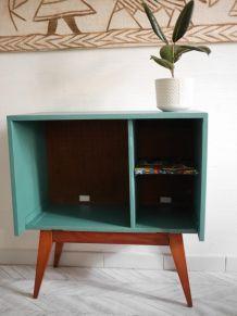 meuble tv vintage pieds compas étagère wax