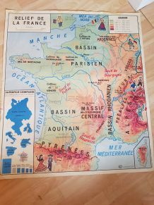 Carte scolaire vintage France