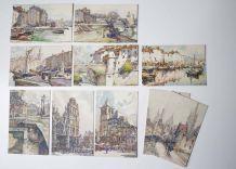 10 cartes postales vintage paysage peint