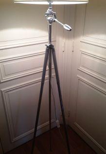 superbe lampadaire s/ancien trépied photo_chromé