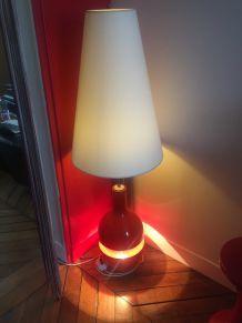 Double lampe années 70, rouge et blanc